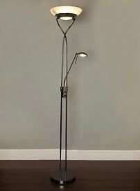 REDUCED Mother and child brushed steel floor lamp