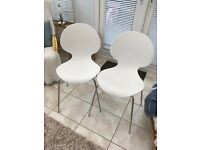 2 White Kitchen Chairs
