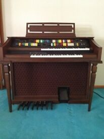 ELECTRIC Organ Piano antique wood in very good condition and very original BRAND LOWREY GENIE