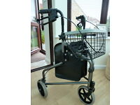 Three Wheeled Mobility Walker with handle bar brakes, basket and tray