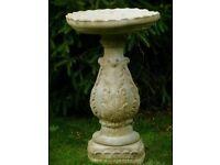 Large Decorative Aged Weathered Garden Stone Birdbath