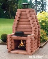 outdoor fireplace by Feu Ardent