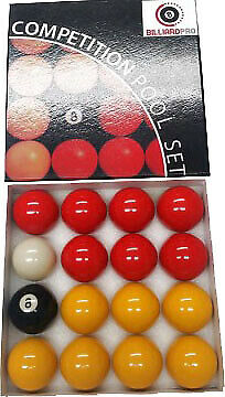 BilliardPro League Pool Balls - 2 - Reds and Yellows - 1 7-8 Cue Ball*New