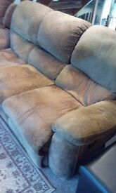 3 seater brown fabric recliner sofa