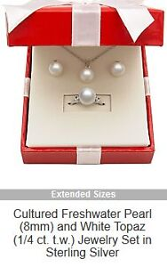 Cultured Pearl Sterling Silver, Ring, Necklace and Earring Set