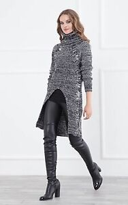 Brand New Size 10/Small Black & White Rollneck Knit Tunic Jumper $20