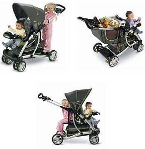 Double Fisher-Price Stand and Ride Duo Stroller + car seat ....