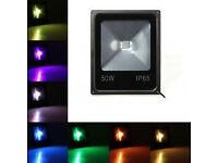 New 30W/50W RGB LED Flood Light Slim Floodlight Spot Garden Waterproof + Remote Control