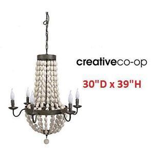 "NEW CCO 6 LIGHT IRON CHANDELIER - 120566325 - CREATIVE CO OP W/ WOOD BEADS 30""x39"""