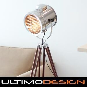 NAUTICAL MARINE SIGNAL SEARCH LIGHT BROWN TIMBER TRIPOD FLOOR LAMP table retro