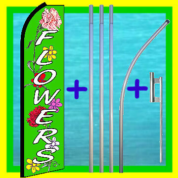 Flowers 15 Tall Swooper Flag W Pole Mount Feather Bow Flutter Banner