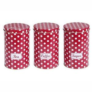 New Set of 3 Red Polka Dot Spotty Tea ,Coffee, Sugar Tins Jars Canisters