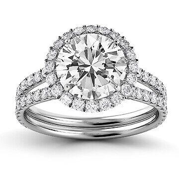 2.46ct GIA Split Shank Halo Round Diamond Engagement Ring E/VS1 (2145397391)