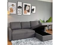Grey Fabric L-Shaped Sofa Bed with Reversible Chaise & Hidden Storage