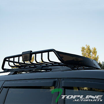 BLACK ROOF RACK BASKET CAR TOP CARGO BAGGAGE CARRIER STORAGE w/WIND FAIRING T27
