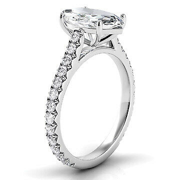 2.34ct GIA French Cut Pave Marquise Diamond Engagement Ring D/SI2 (16241981) 1