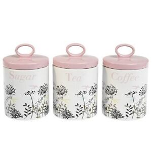 White Ceramic storage Jars Set Tea,Coffee,Sugar pots with Pretty Pink Lids