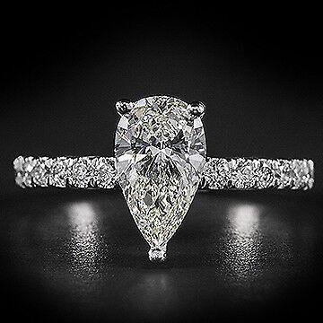 2.10ct GIA Pear Center Pave Set Diamond Engagement Ring E/VS2 (7268886498)