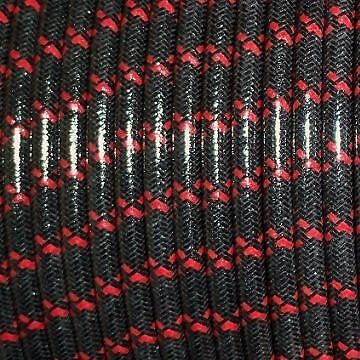 BLACK WITH RED TRACERS, MAGNETO SPARK PLUG WIRE 7MM SOLID COPPER CORE, WOVEN