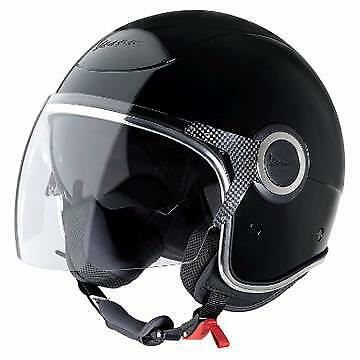 Vespa VJ Helmet - Gloss Black Vespa Helmet With Tinted Visor