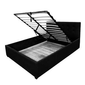 Fabric Bed Ottoman Storage Gaslift Bedframe