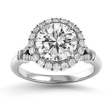 2.25ct GIA Classic Pave Halo Round Diamond Engagement Ring D/SI1 (2101514898)