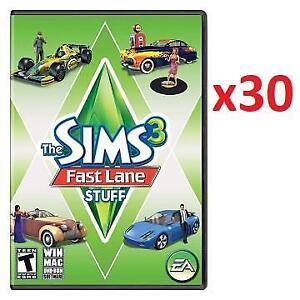 NEW 30 THE SIMS 3 FAST LANE STUFF 219932913 PC GAME VIDEO GAME WINDOW MAC DVD ROM EA ELECTRONIC ARTS 1 CASE OF 30 GAMES