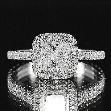 1.81ct GIA Princess 18K Gold Halo Pave Diamond Engagement Ring D/VS1(2145860417)