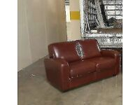 2 seater sofa in brown leather, mint mint condition, not a mark on them £135