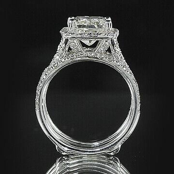 3ct GIA Cushion 18K Gold Engagement & Ring Guard Bridal Set E/VS1(2111712731) 1