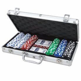 New Poker Set 300 Chips 2x Card Decks, Dice, Dealer Button inc. Aluminium Carry Case. Pick up only