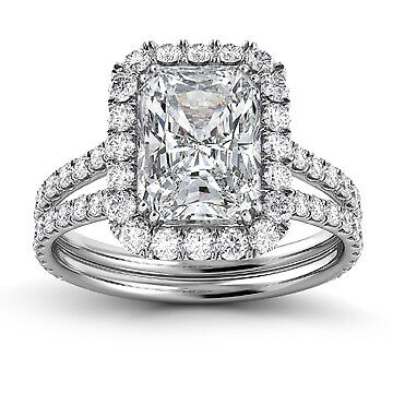 2.51ct GIA Split Shank Halo Radiant Diamond Engagement Ring H/VS2 (2141990230)