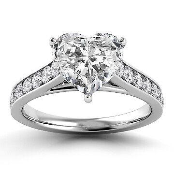 2.51ct GIA Pave Set Heart Diamond Engagement Ring E/SI1 (14914437)
