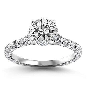 3ct GIA Vintage Style Pave Round Diamond Engagement Ring D/VS2 (11293414)