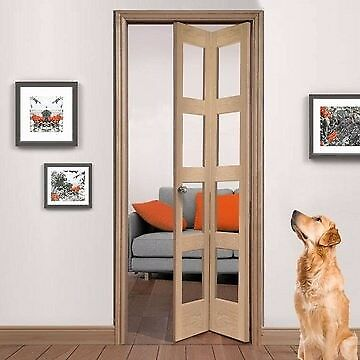 Shaker Oak Bifold Internal Door With Clear Glass New Unopened