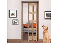 Shaker Oak Bifold Internal Door With Clear Glass **NEW** **UNOPENED**