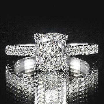 2.10ct GIA Cushion French Pave Set Diamond Engagement Ring E/VVS2 (6147753284)