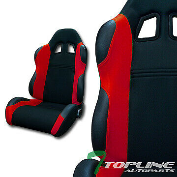TS SPORT BLK/RED CLOTH FABRIC CAR RECLINABLE RACING BUCKET SEATS+SLIDERS L+R
