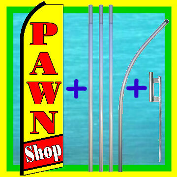 Pawn Shop Swooper Flag 15 Tall Pole Kit Mount Feather Flutter Bow Banner