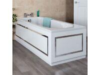 White Horizontal Stripe Bath 1700mm Front Bath Panel...........Brand New