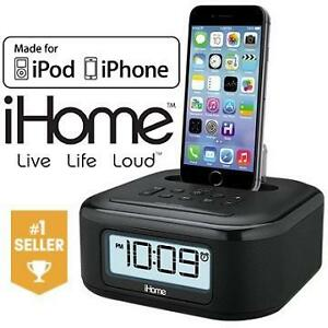 NEW OB IHOME FM STEREO CLOCK RADIO - 109598983 - with CHARGE  PLAY Lighting Dock FOR IPHONE/IPOD - ELECTRONICS