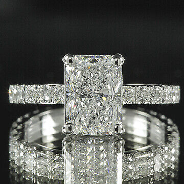 2.7ct GIA Radiant 18K White Gold Pave Diamond Engagement Ring F/VS2 (2155666053)