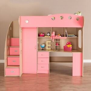 Selling Girls Pink Bunk Bed with Computer Desk