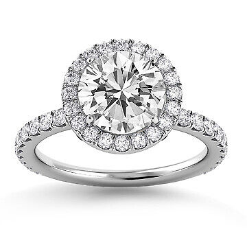 2.41ct GIA Halo Pave Set Round Diamond Engagement Ring F/SI1 (6147311311)