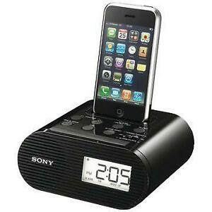 SONY ICF-C05IP 30-PIN IPHONE / IPOD 4 / 4S CLOCK RADIO SPEAKER DOCK WITH AC POWER ADAPTER (BLACK) - NEW $34