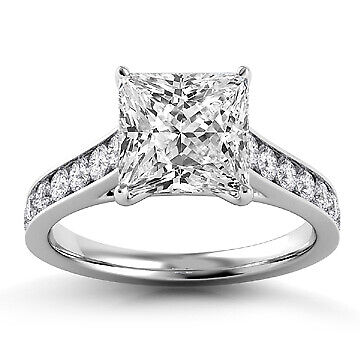 2.51ct GIA Pave Set Princess Diamond Engagement Ring E/SI2 (115317426)