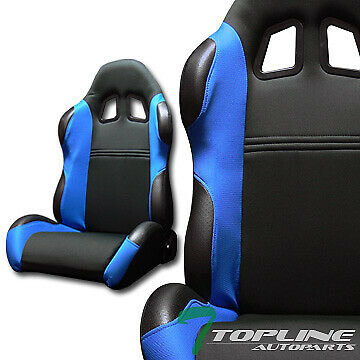 TS SPORT BLK/BLUE CLOTH FABRIC RECLINABLE CAR RACING BUCKET SEATS+SLIDER L+R