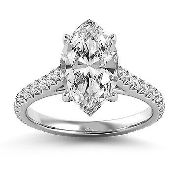 2.34ct GIA French Cut Pave Marquise Diamond Engagement Ring D/SI2 (16241981)