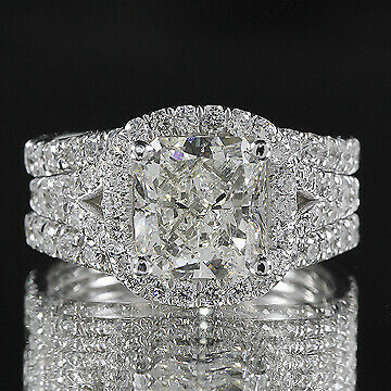 3ct GIA Cushion 18K Gold Engagement & Ring Guard Bridal Set E/VS1(2111712731)