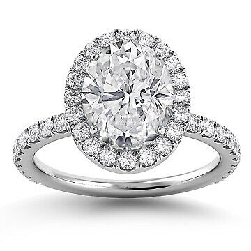 2.43ct GIA Halo Pave Set Oval Diamond Engagement Ring E/SI2 (3155894032)